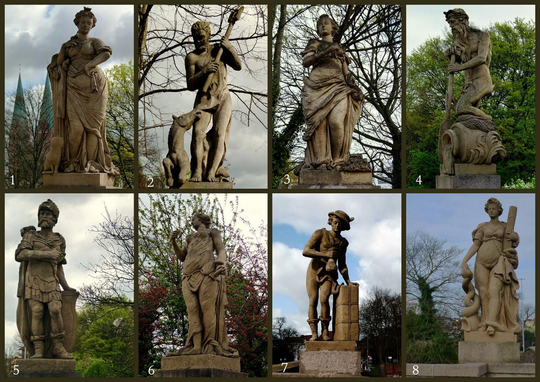 Die Figuren auf der Lübecker Puppenbrücke haben folgende Bedeutung (siehe unten):