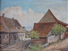 """""""Die Fischerhäuser"""" Gemälde von Pfarrer Wasmer"""