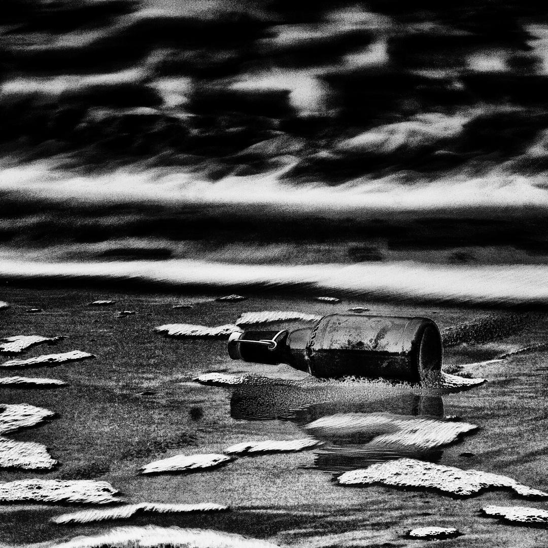 Die Flasche im Meer .
