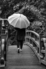 Die Frau mit dem Regenschirm,.....will die Brücke überqueren!