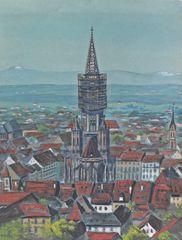 """""""Die Freiburger Altstadt 1919"""" Ansicht vom Schlossberg"""