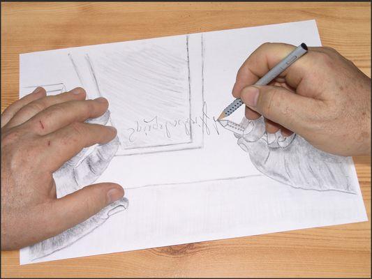 Die gespiegelte Zeichnung mit ebensolcher Schrift
