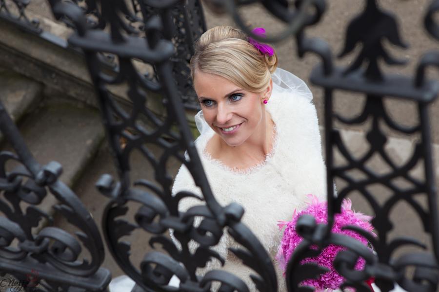 Die glückliche Braut aus einer anderen Perspektive