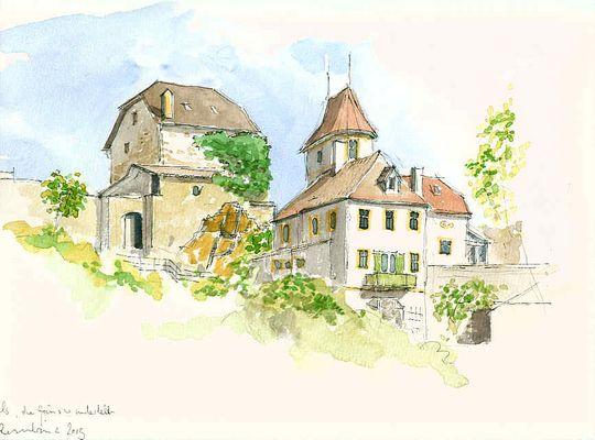 die Häuser unterhalb Burg Hals