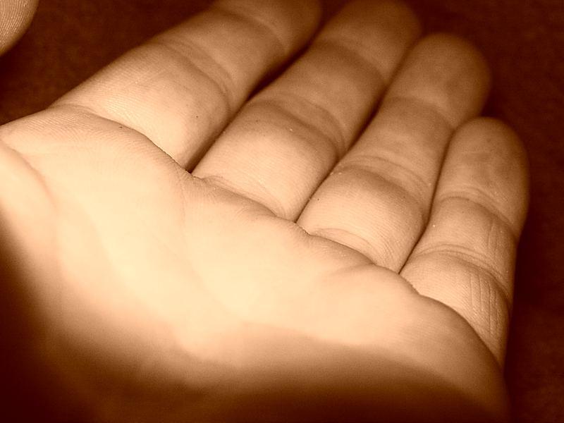 die Hand die etwas möchte