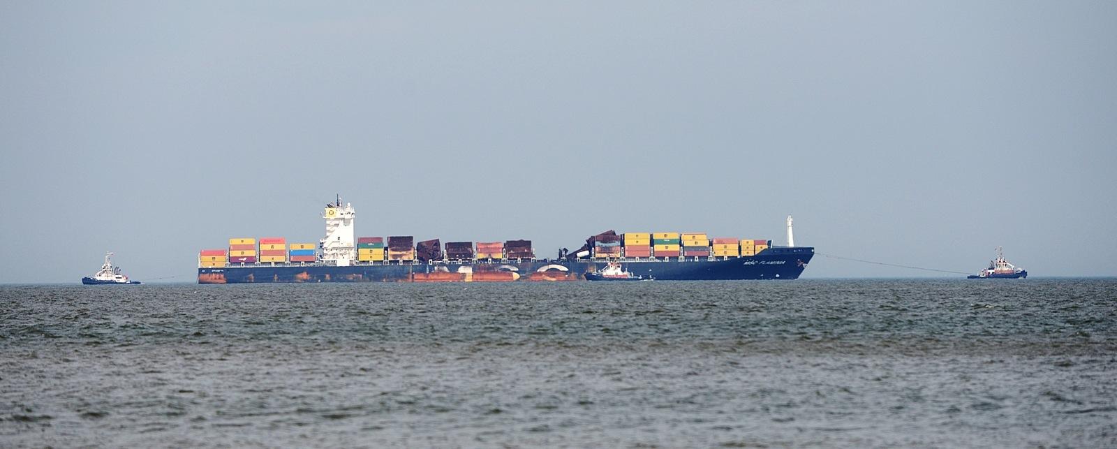 Die havarierte MSC Flaminia vor Wangerooge