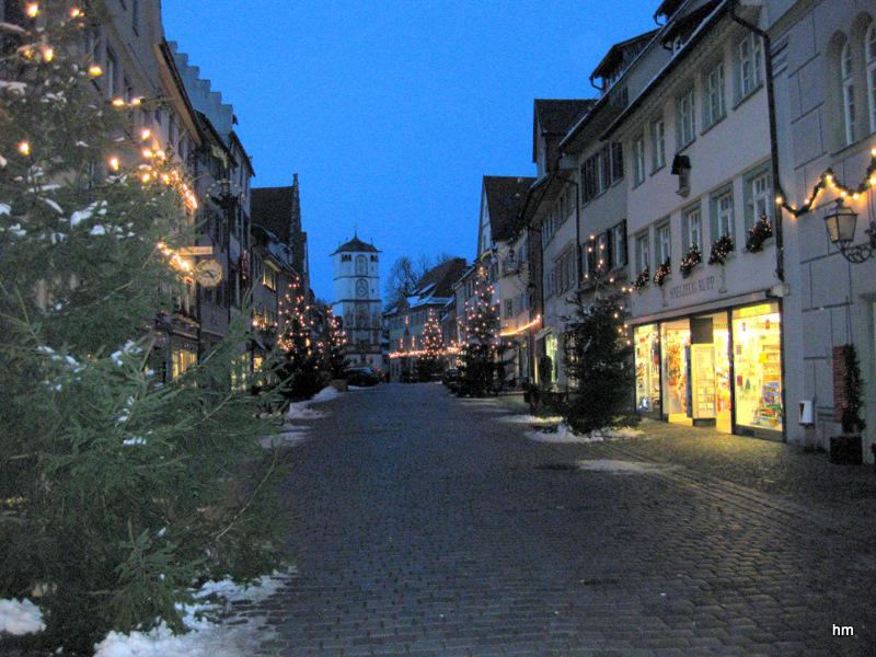 Die Herrenstraße mit Adventsschmuck