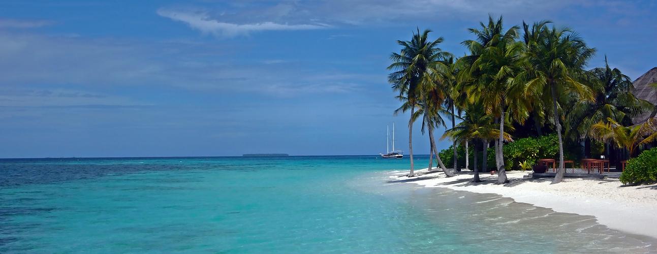 die Insel Mirihi im indischen Ozean