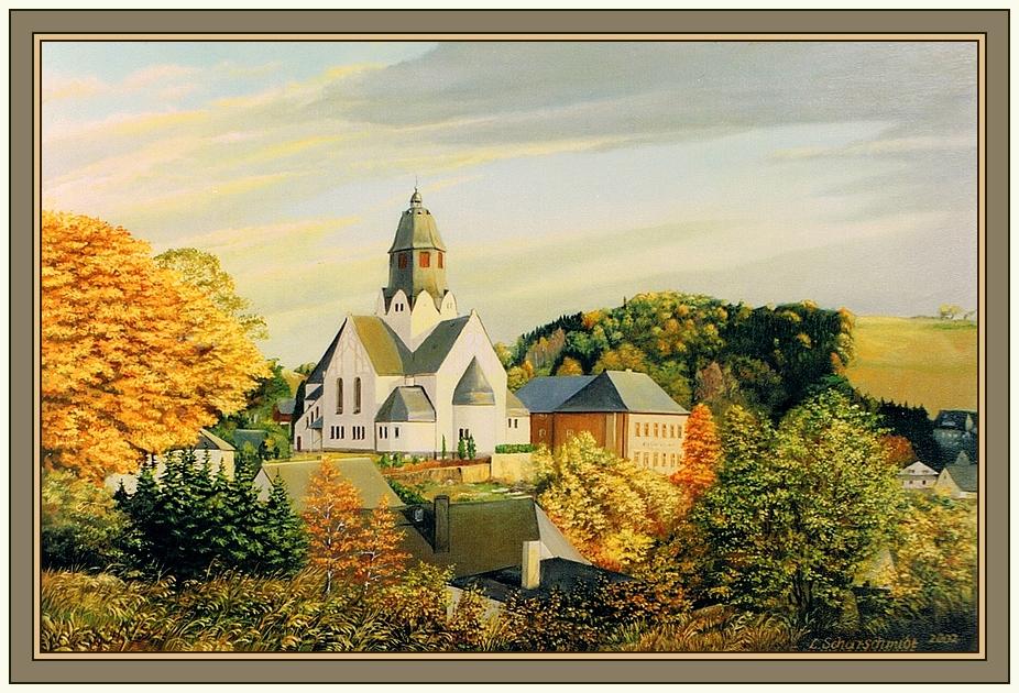 Die Kirche von Wiesa (Erzgeb.) 2002 / Öl