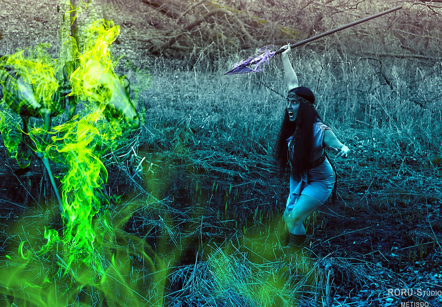 Die Kriegerin kämpft im Urwald