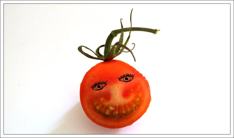 Die laut lachende Tomate