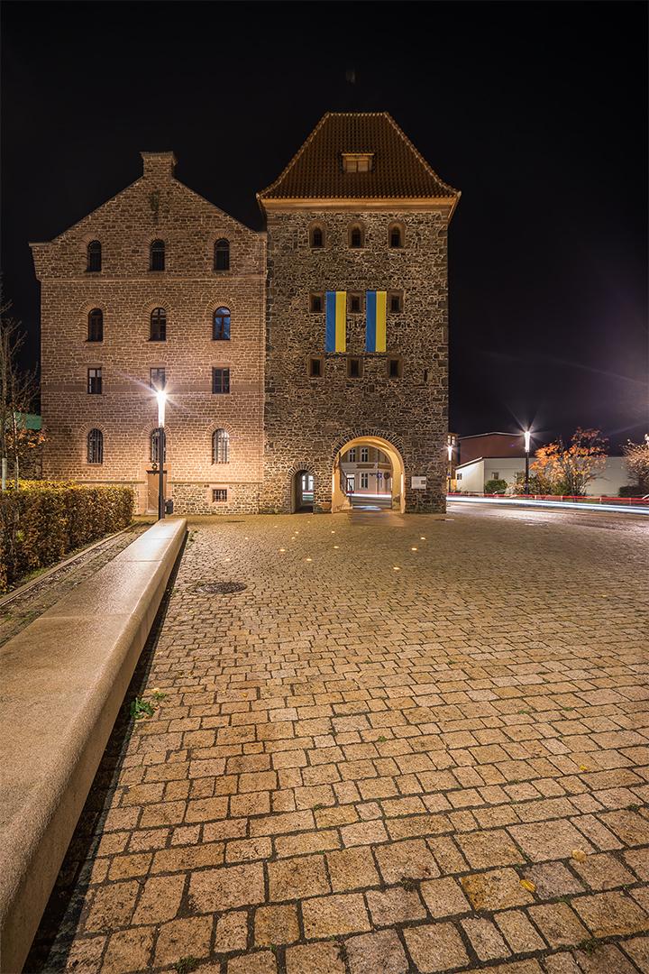 Die Lichtinstallation am Stendaler Turm...