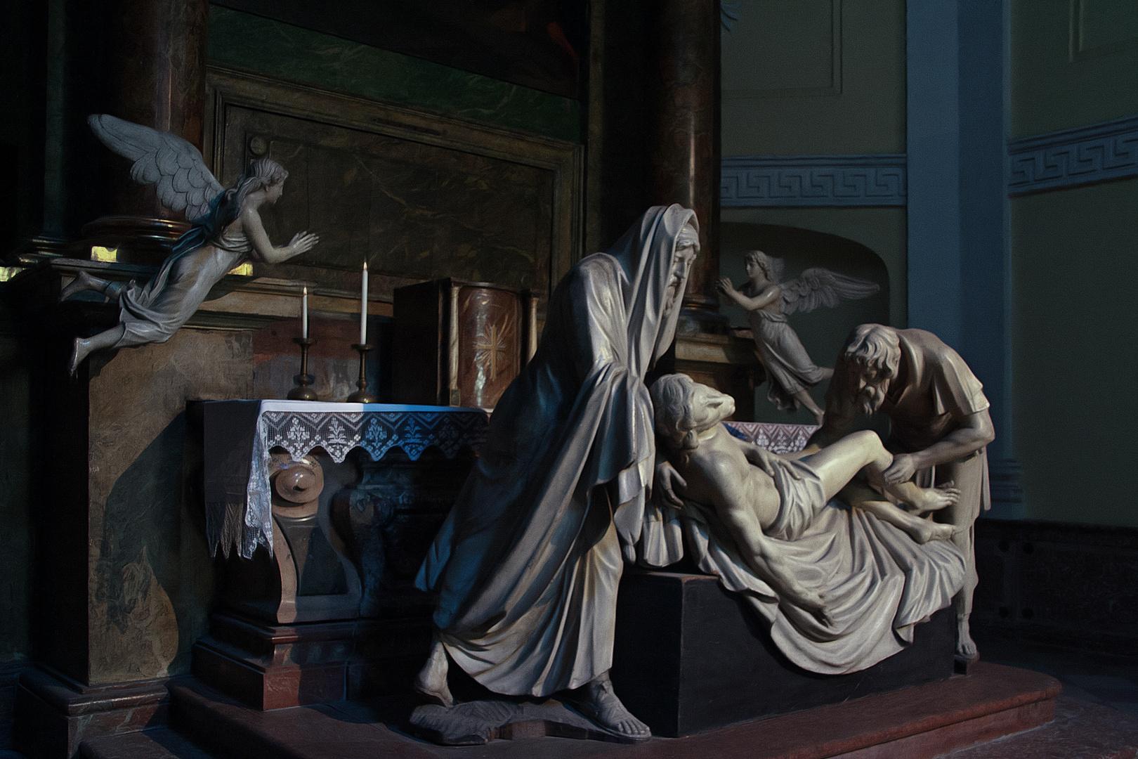 Die Marmorstatue der Ablagerung Christus