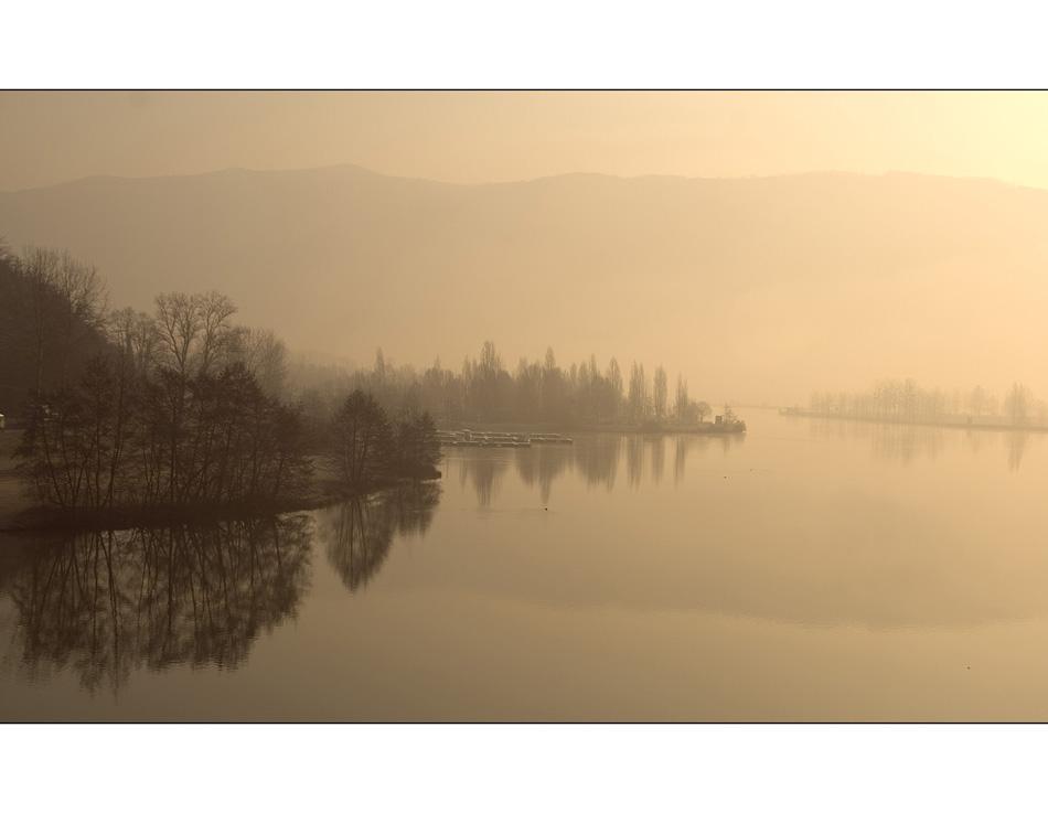 Die Rhone im Nebel