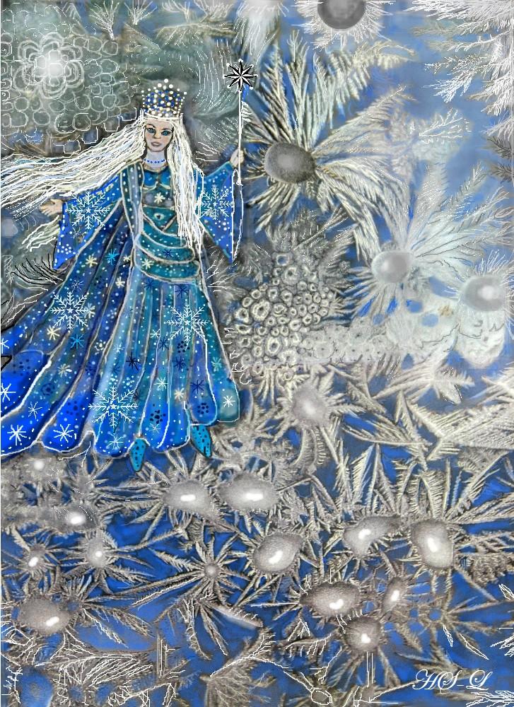 Die Schneekönigin in ihrem Blumengarten