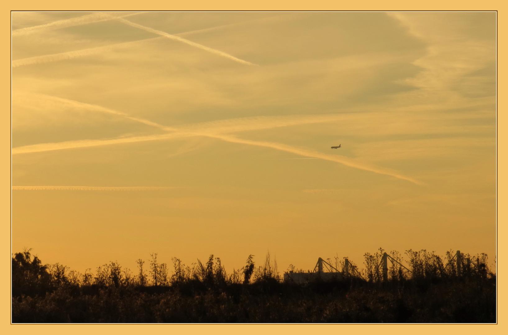 die Sonne erwacht gerade, dann kommt die B1, dahinter Feld und Ackerland,