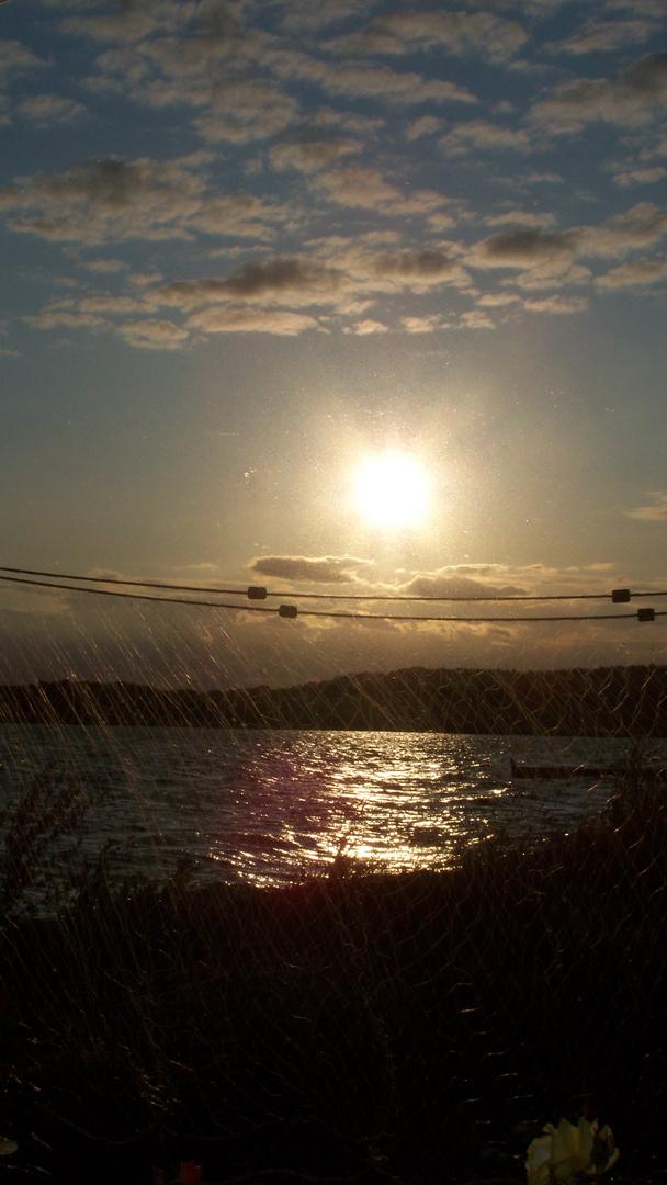 die Sonne geht gleich ins Netz