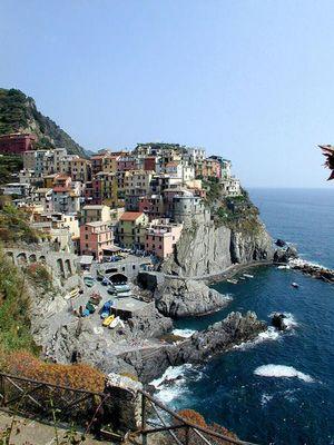 Die Stadt Manarola in Italien