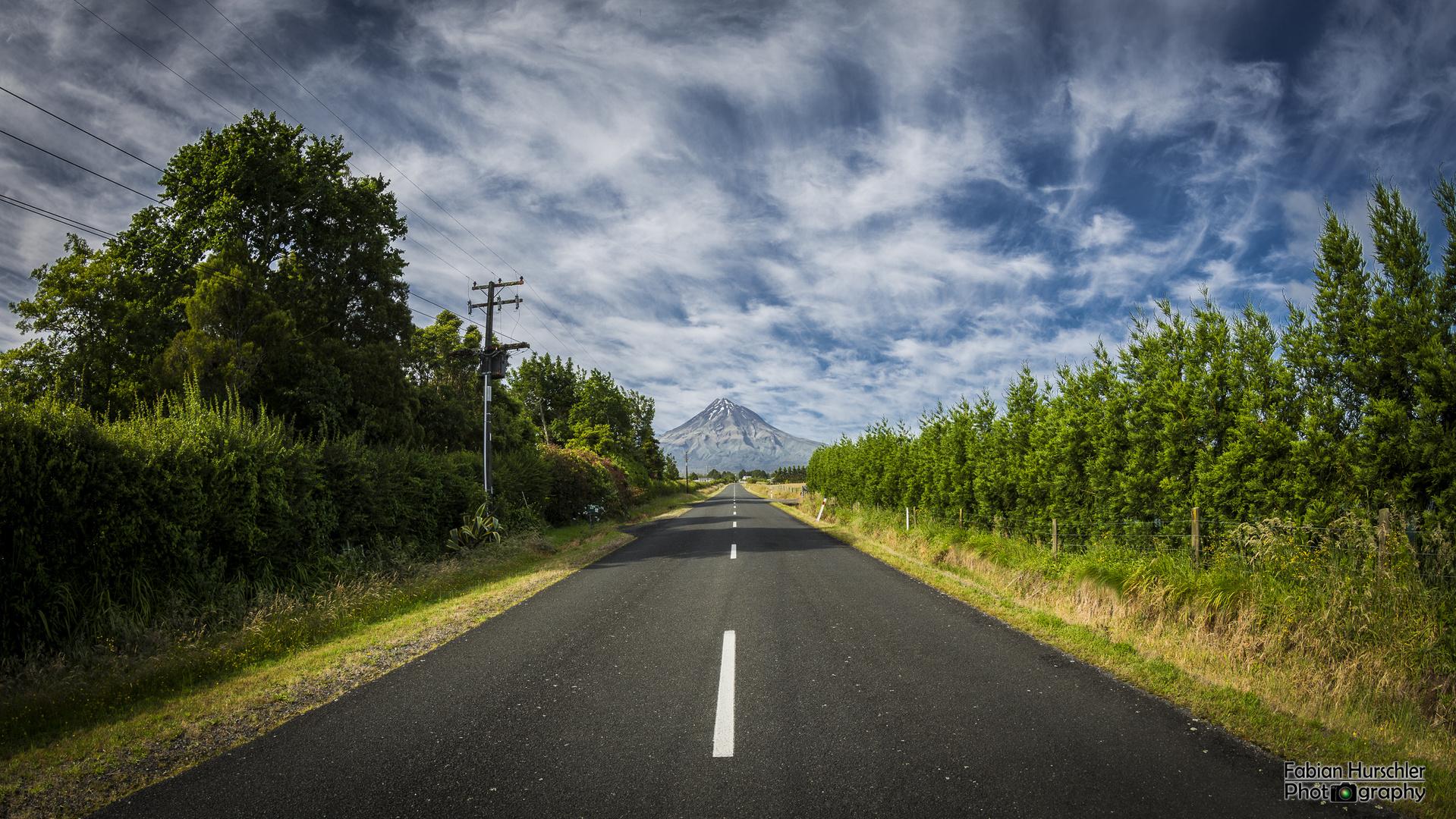 Die Strasse zum Mount Taranaki