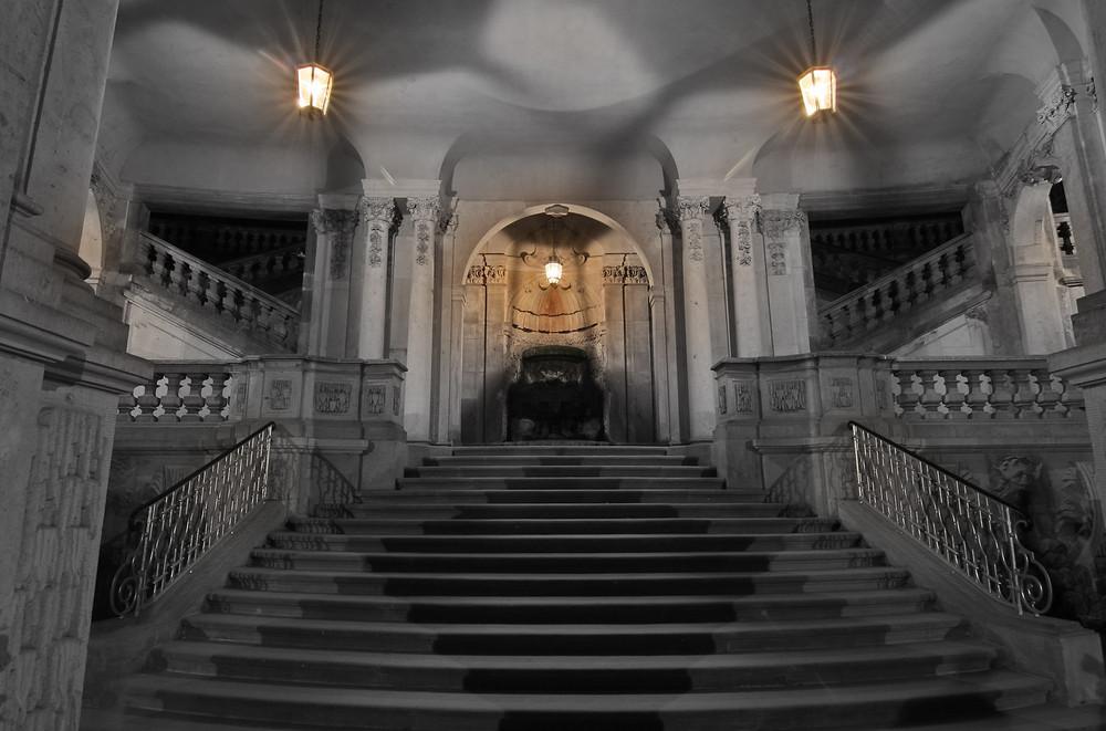 Die Treppe im Zwinger....