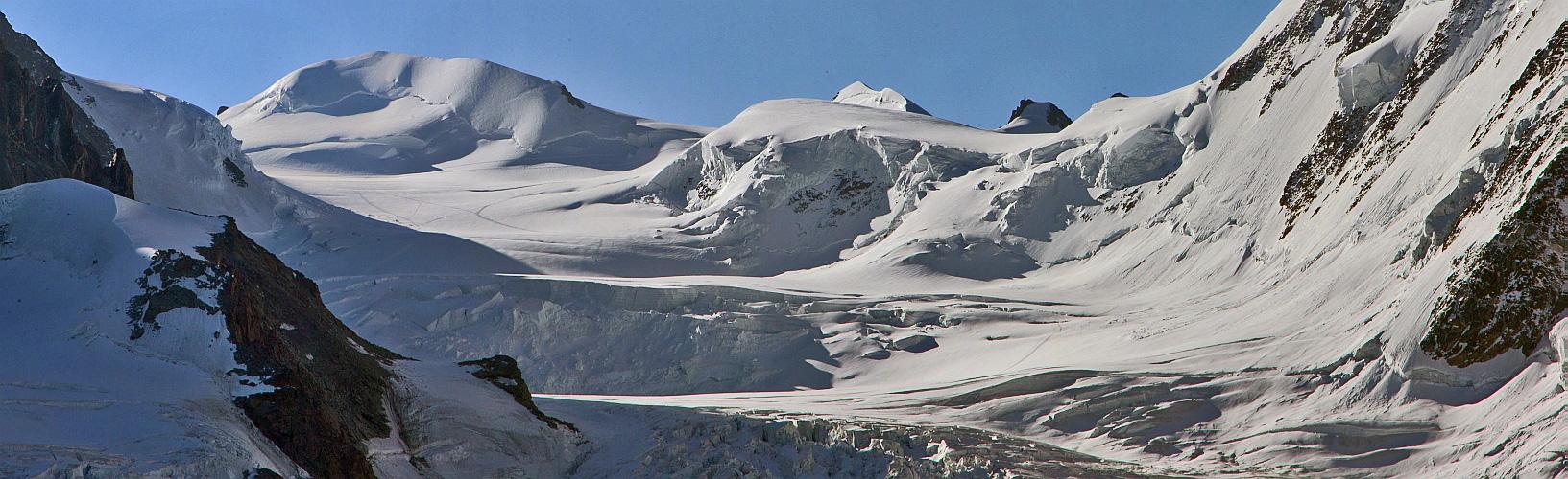 Die weiteren Monte Rosa Gipfel, denen man es gar nich ansieht...