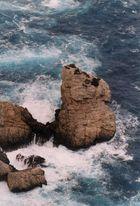 Die Wellen nagem am Fels