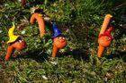 die Würmchen ...als Gartenfiguren, presentiert beim Mandelnblütenfest 2014