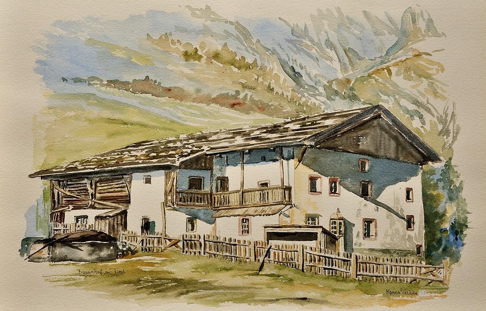 """Dieses Aquarell """"Bauernhof in Tirol"""" wurde mir von Mara Felicita einer Künstlerin, Sängerin,..."""