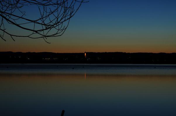 Diessner Kircherl am Ammersee zur blauen Stunde