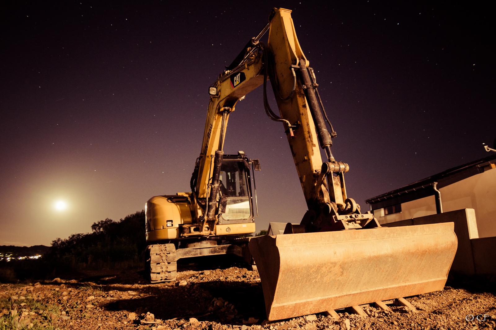 Digger at night