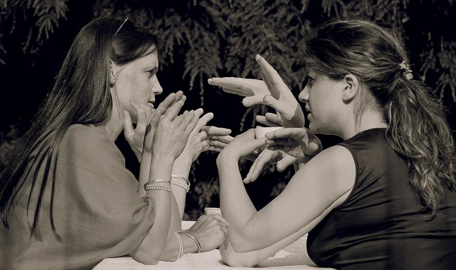 Diskussion mit Händen