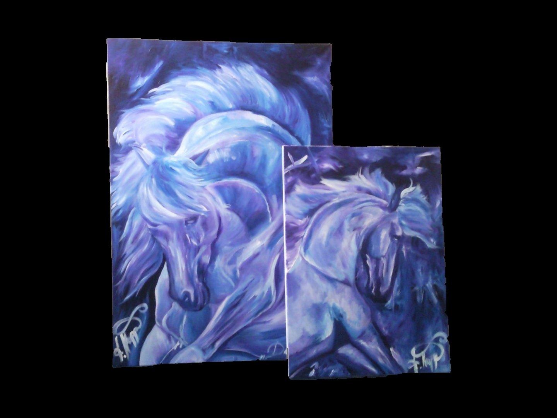 """DIVA"" und ""LUNA"" Acryl Gemälde"