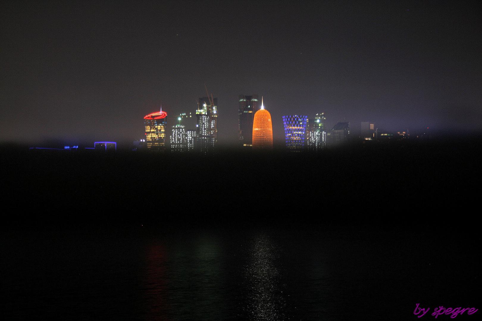 Doha West Bay Skyline im Nebel