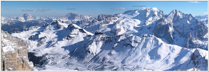 Dolomiten-Panorama mit Mt.Pelmo, Civetta und Marmolada