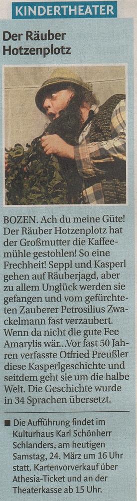 Dolomiten - Tagblatt der Südtiroler, Ausgabe 24./25.3.2012