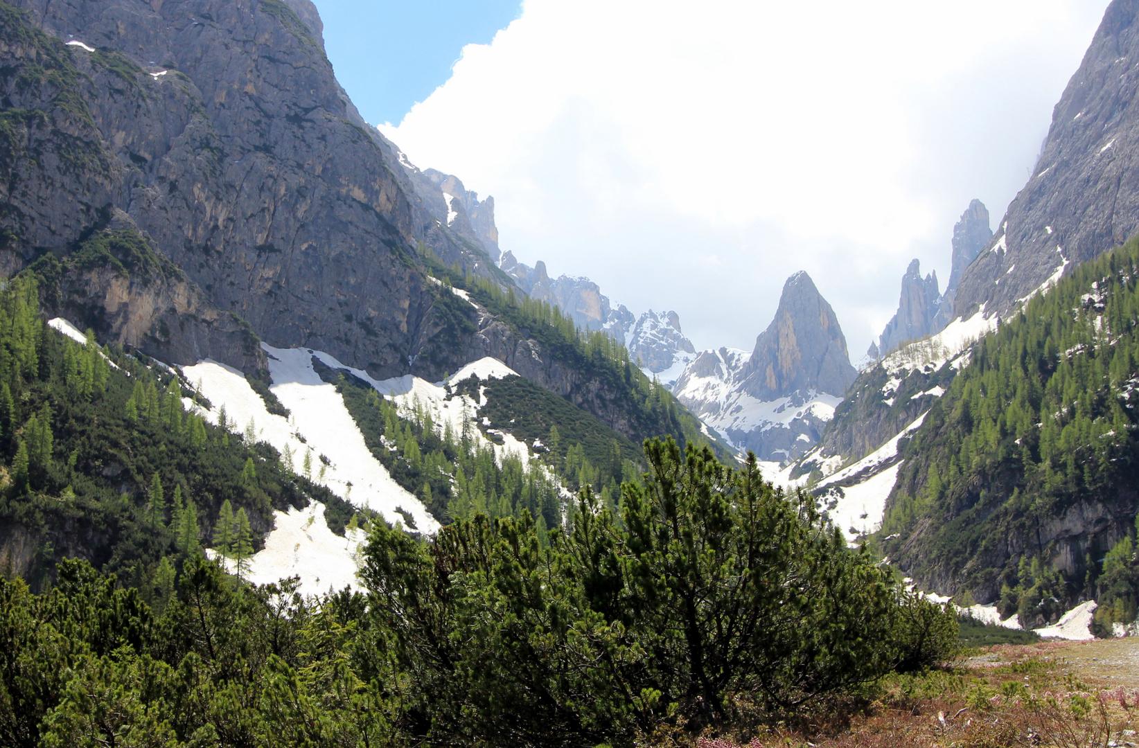 Dolomiten, vom Ende des Fischleintal gesehen