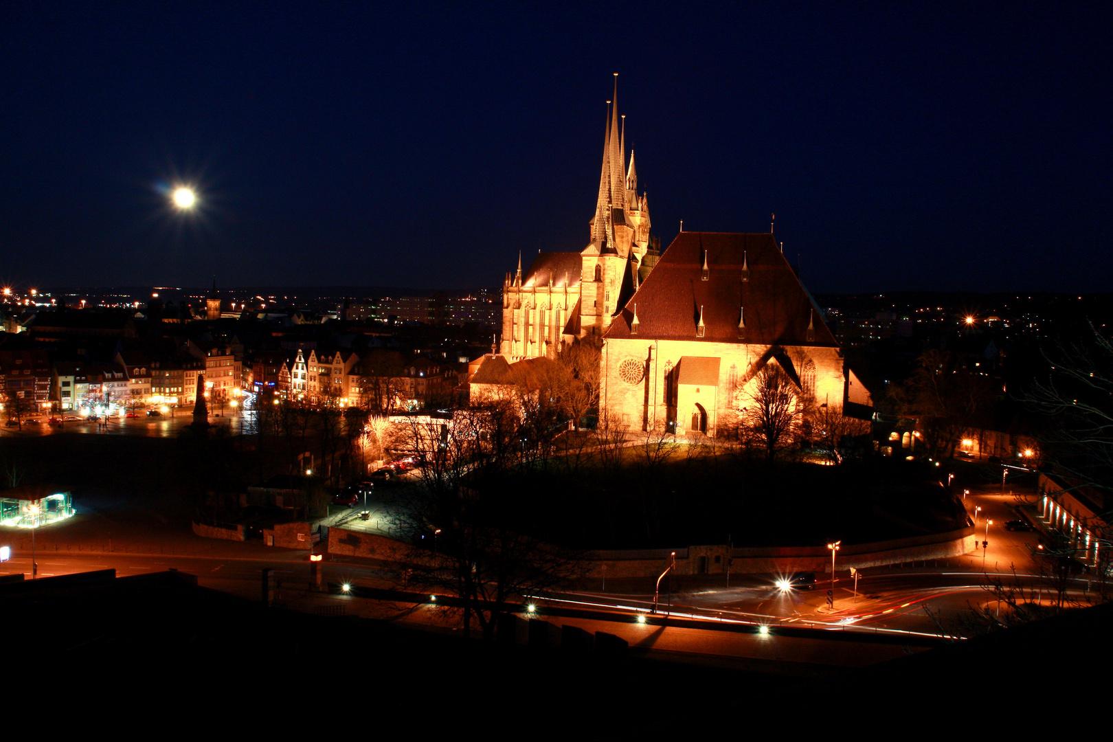 Dom zu Erfurt mit Vollmond