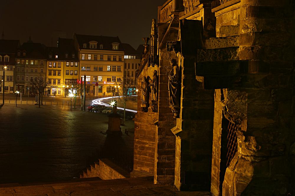 Domblick bei Nacht in Erfurt