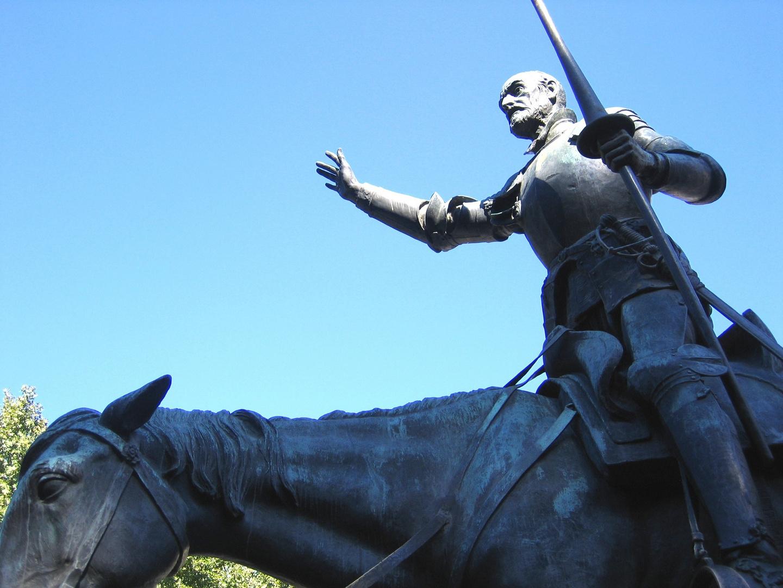Don Quijote auf seinem Pferd Rocinante (Teilansicht). Plaza de Espana, Madrid