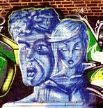 Doppelgesicht in Blau