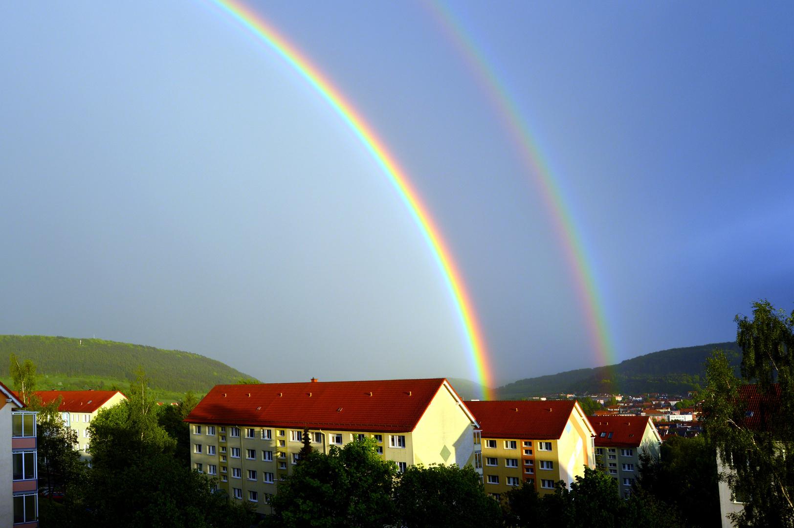 Doppelter Regenbogen über dem Dünkreuz