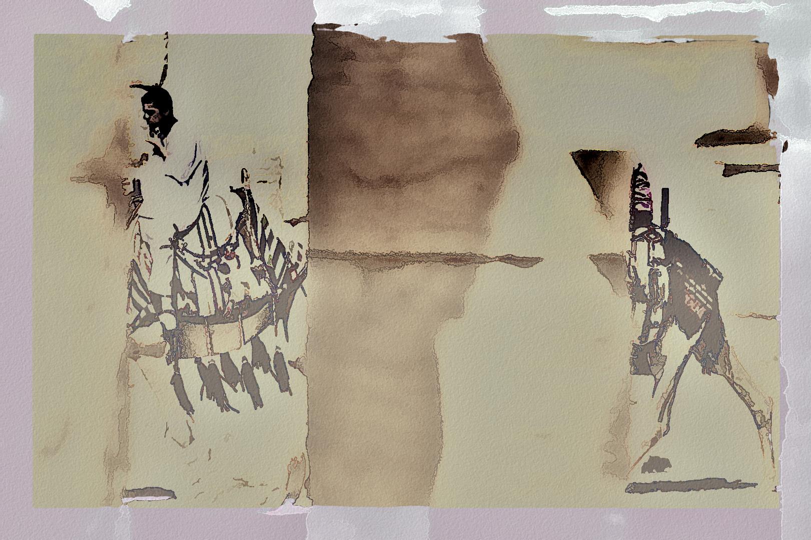 Dos dromedarios, dos columnas