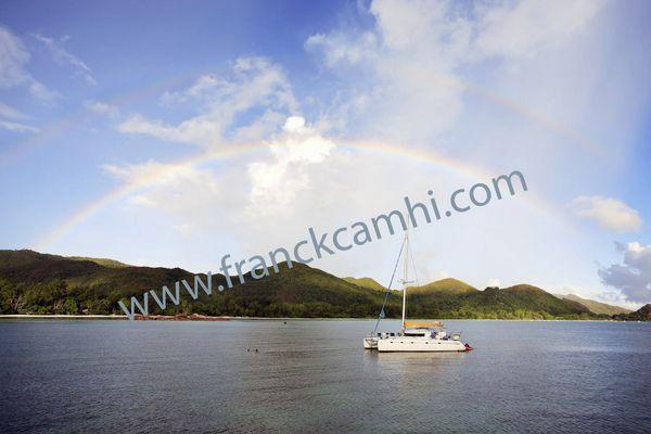 double rainbow on seychelles islands