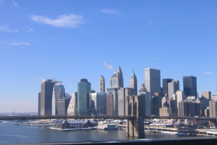 Down Town Manhattan at clear winter day.