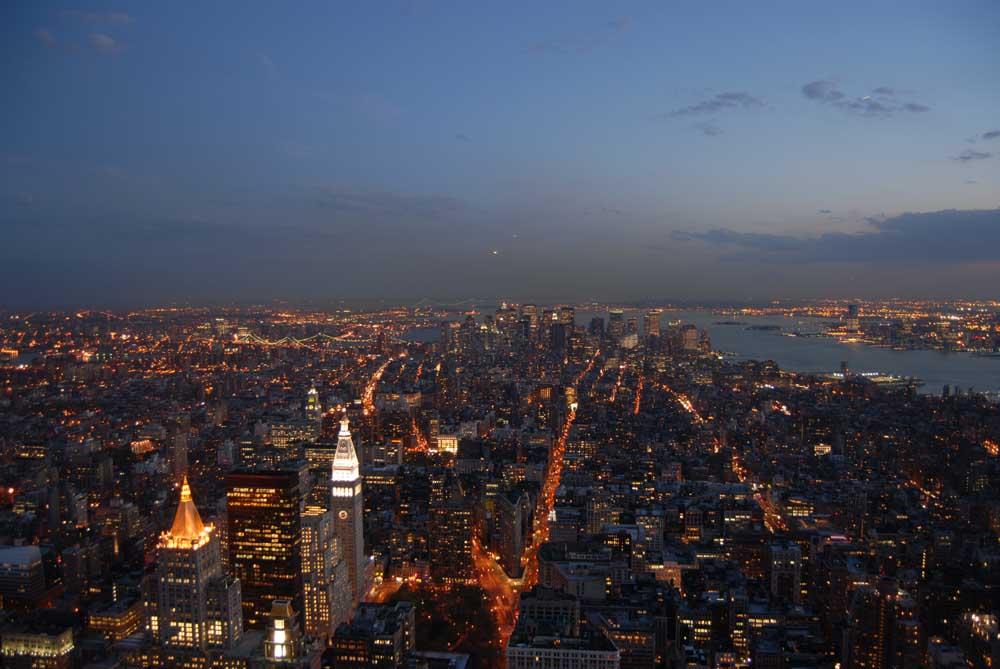 Downtown Manhattan bei Nacht