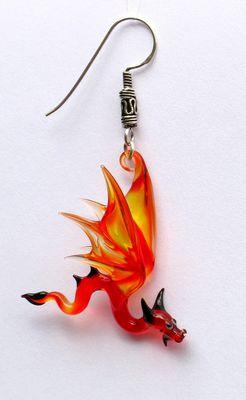 Drachen Ohrringe aus Glas