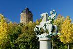 Drachentöter und 16-eckiger Schlossturm in Plauen