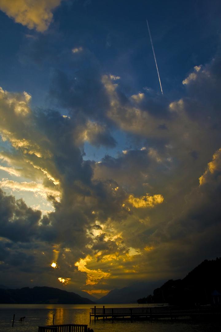 dramatic sky above lake millstatt