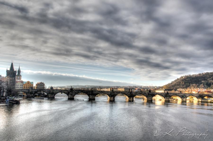 dramatic sky over the bridge
