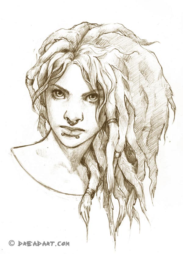 Dreadart - Skizze einer Frau mit Dreadlocks / Dreads